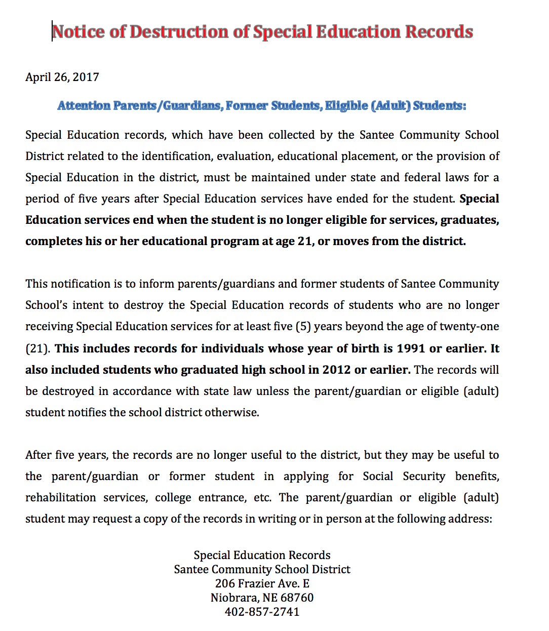 Santee community schools special education notice inserted image spiritdancerdesigns Image collections